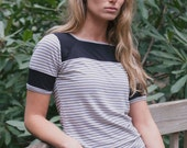Stripe square neck simple t-shirt, loose drape and color block detail. Retro inspired summer blouse with short cap sleeves.