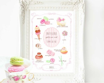 French art print, nursery print, watercolor macarons, cake illustration, kitchen print, bakery print, A4 giclee