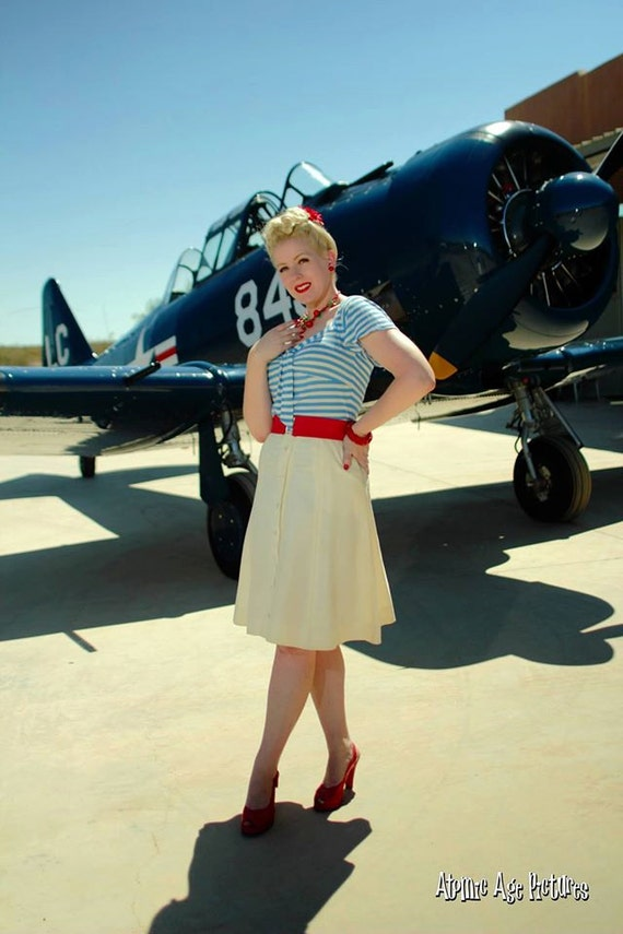 5 colors 1940s style sailor top vintage style XS to XL rayon jersey with flutter sleeve