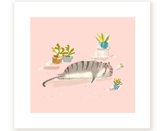 House Cat - Fine Art Print - With House Plants - Cat Lover - Cat Mom