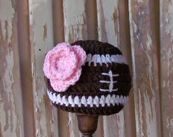 Crochet Football Baby Girl Hat, Baby Football Hat, Newborn Baby Girl Football Baby Shower Gift