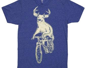 MENS BICYCLE TSHIRT Deer on a Bike Unisex American Apparel Tri-Indigo T-Shirt