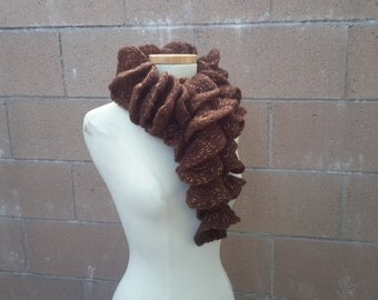 Brown Ruffle Scarf - Chocolate Frilly Scarf with Golden Threads