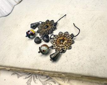 Rustic Chandelier Earrings -  Beaded Assemblage Earrings - Tarnished Filigree - Sparkly Millefiori Glass, Vintage Metal Cones, Dark Hearts