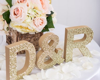 Wooden Letters Wedding Sign Freestanding Wedding Initials - Personalized Table Signs - Initials 2 Letters and Ampersand (Item - INI400)