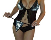 New York Yankees MLB Lingerie Sexy Cami Top and Lace Booty Shorts Set Plus FREE Matching G-String Thong Panty