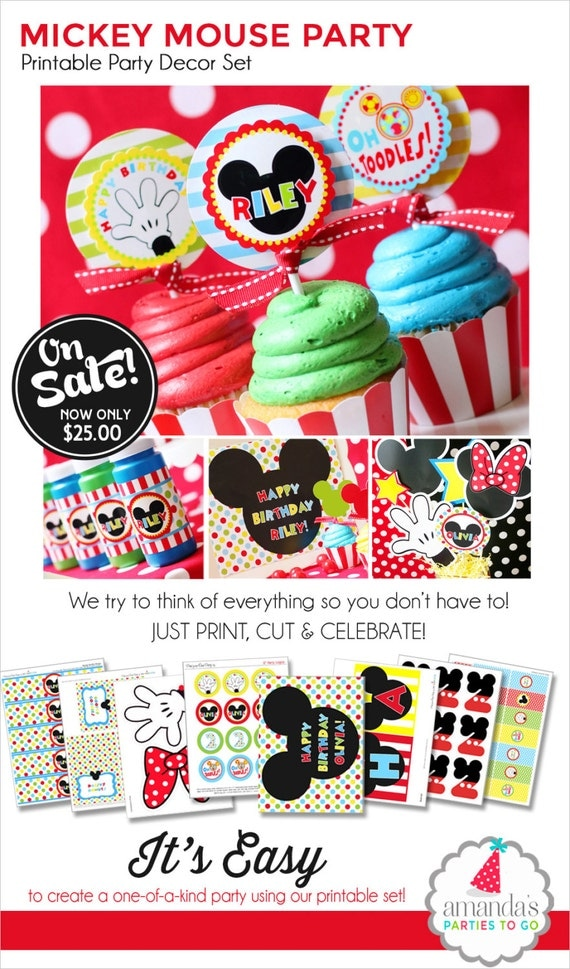 Mickey Mouse Birthday | Mickey Mouse Party Decorations | Mickey Mouse Clubhouse Party Printable | Mickey Mouse Printable | Amanda's Parties