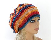 Women Knit Berets, Womens Colorful knit winter hats, Slouchy hat, Womens Knit Hat Hand knit hat for women, Knit Fall Multicolor shunky beret