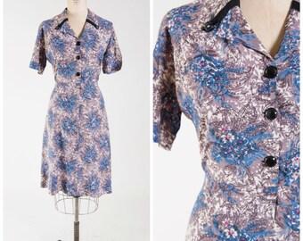 Vintage 50s Dress • Violet Passions • Blue Purple Floral Print Rayon 1950s Shirt Dress Size Large