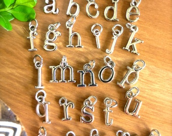 Alphabet Charms! Choose a Whimsical Silver Letter-CUSTOM Necklace or Bracelet-Personalize w/ Silver Metal Word Charms-Initials-Name Pendant