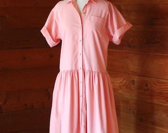 vintage Oscar de la Renta for Swirl pink cotton dress / size medium