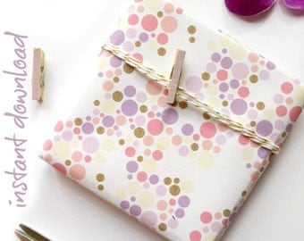 Wrapping Paper PRINTABLE - Gold, Yellow & Purple Confetti || Instant Download Pastel Wrap