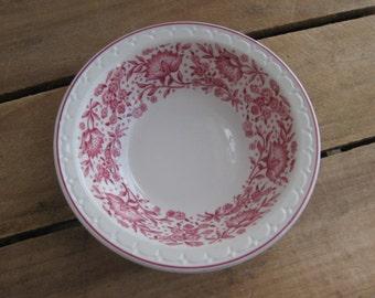 "Syracuse China Econo Rim Bowl, Red Floral Dessert Bowl, Vintage 6"" Bowl, Red & White"