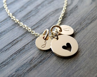 Gold Initial necklace Heart Necklace with Initials Mother Daughter Jewelry Mothers day from daughter Personalized Mother's Necklace