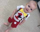Mickey Mouse First Birthday Bow Tie and Suspender Bodysuit with Red Shorts, Baby Boy 1st Birthday Set, Boys Cake Smash outfit