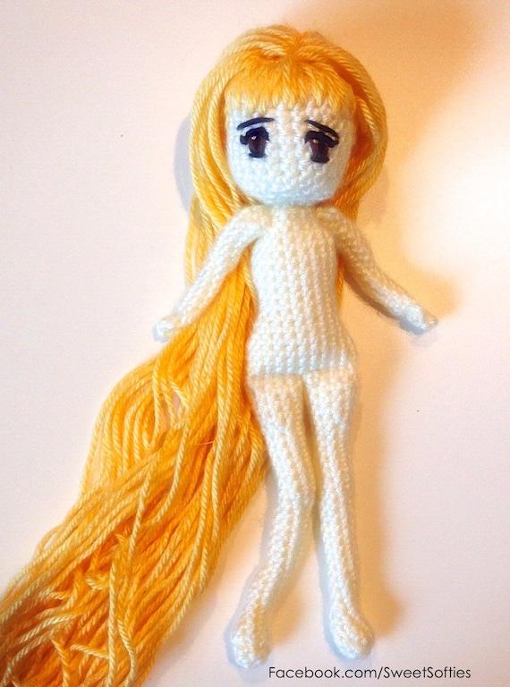 Amigurumi Long Hair : Amigurumi Crochet Doll Pattern Japanese Anime Woman Female