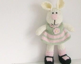 Bunny Kids Toy -  Soft Toy Bunny - Stuffed Bunny - Gift for Girl - Bunny Plush - Kids Toy - Stuff Animal - Knit Bunny - Child Toy - Emily