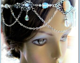 Opalite Headpiece, Handfasting Headdress, Renaissance Wedding Circlet
