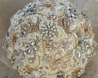 Silver and Gold BROOCH BOUQUET, Deposit, Ivory and Gold Jeweled Bouquet, Ivory and Silver Brooch Bouquet, Custom Bridal Bouquet,