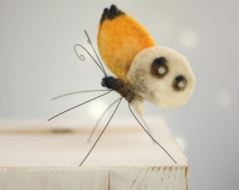 Needle Felted Butterfly - Needle Felt Yellow Butterfly - Butterfly Home Decor - Yellow Decor - Needle Felt Animals - Handmade Butterfly
