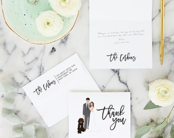 Thank You Cards for Wedding with Custom Wedding Portrait - Wedding Thank You Cards - Personalized Cards - DESIGN FEE ONLY