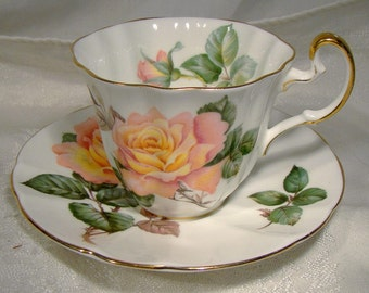 Adderley PEACE H834 Pink and Yellow Rose Cup and Saucer 1950s-60s