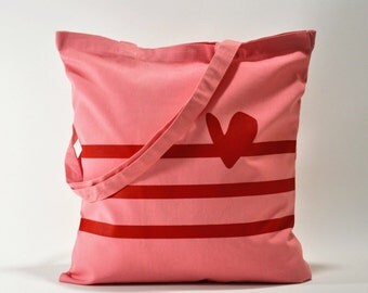 H&S. Pink Tote Bag. Cotton Canvas.