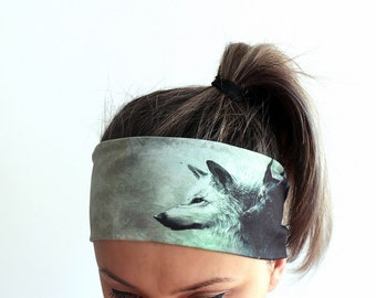 Headband - Yoga Headband - Fitness Headband - Workout Headband - Running Headband - Wolves Grey Black Y6 Cyber Monday