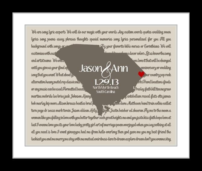 Wedding Song Lyric Art Personalized Wedding Gift Any State