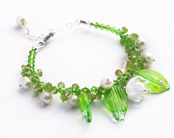 Lilies of the valley - May-lily - Flower Bracelet - Silver Bracelet - Lampwork Bracelet - Glass Bracelet - Spring - Peridot Bracelet