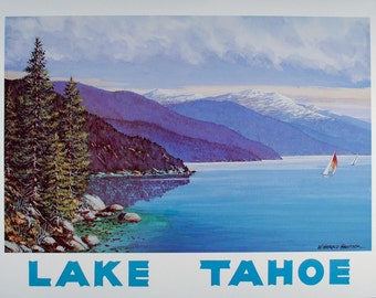 LAKE TAHOE, Lake Tahoe Poster, Lake Tahoe Print, Lake House Decor, Lake Tahoe Art, California Wall Art, Travel Poster, Nevada, Vintage