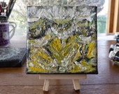 Mini abstract painting, Dandelion Study, yellow art, abstract art, 4 x 4 inch canvas, optional display easel, unique gift, desk art