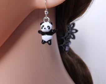 Enamel panda earrings on sterling silver earwires. Animal jewellery