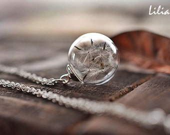 Dandelion necklace, Terrarium necklace, Make a wish necklace, Botanical necklace, Nature necklace, Dandelion jewelry, Holiday gift for her