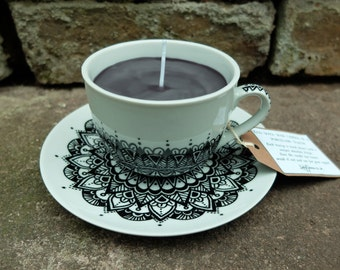 Hand painted, Handmade Teacup Candle. Unique, 'mandala' design. Gothic decor.