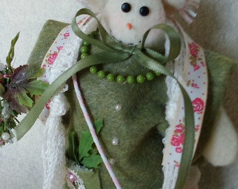 Snowman, Christmas ornament, one of a kind, homemade.