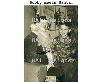 Vintage Photo - Bobby Meets Santa - Instant Download