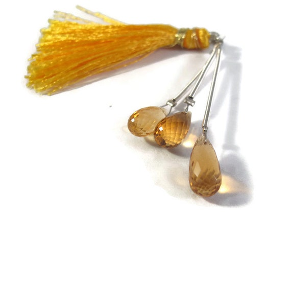 Three Citrine Beads, Trio of Golden Elongated Natural Gemstones, 3 Teardrop Briolettes, November Birthstone (PT-Ci7)