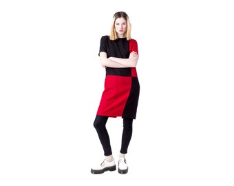 sale SHIFT dress COLOR block Black Red vintage mini 90s minimal geometric short sleeves / Small / better Stay together
