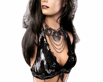 Halter, C or D Cup, Noir, Bellydance, Black with Silver Sequins, Chain, Dark Fusion, Tribal, Fusion, Carnival, Circus, Bra, Gothic, Hoop