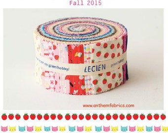 Lecien Jelly Roll 2-1/2in x 43in Strips , 42-pieces Japanese quilt cotton fabric pack - Minny Muu F15 Sushi Roll set