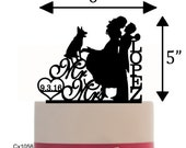 Custom Wedding Cake Topper , Couple Silhouette and any Dog of your choise with free base for display - Wedding Sign Table Display