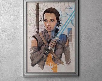 Rey - STAR WARS - Episode VII - The Force Awakens - Original Art Poster