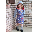 Girl HOODED Dress sewing pattern Pdf, SNOW WHITE Long Sleeve Dress, Knit Jersey Dress, size 3 4 5 6 7 8 9 10 yrs Instant Download