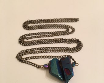 Handmade Blue Iridescent Crystal Beaded Necklace