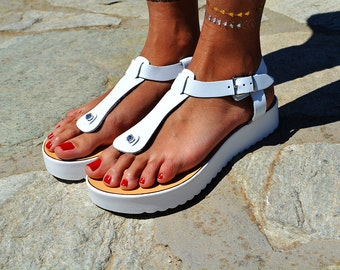 "Women Leather Sandal ""Roadtripper"", white sole sandals, genuine leather sandals, strappy sandals, T strap sandals"