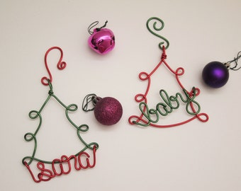 Personalized Christmas Ornament / Wire Ornament/ Pet Ornament / Holiday Ornament/ Holiday Gift / Couples Gift
