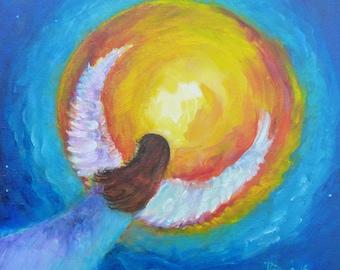 "Original Angel Painting on Canvas ""Transformation II"" 12 x 12 inch Angel Yoga Chakra Acrylic Blue Turqoise Yellow"