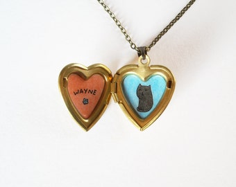 Cat Necklace with Custom Name - Black, Grey, White Cat Heart Locket Pendant with Personalized Name