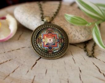 Buddhism Mandala Necklace, Antique Bronze Pendant,Glass Cabochon Pendant With Chain